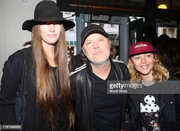 Jessica Miller Lars Ulrich and son Bryce UlrichNielsen pose at the opening night of Harry Potter and The Cursed Child Parts One 2 at The Curran...