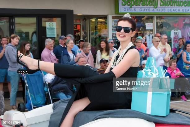 Jessica Milne Miss North Jersey Meadows is Audrey Hepburn in the Miss New Jersey 'Women In History' themed parade on June 13 2018 in Ocean City New...