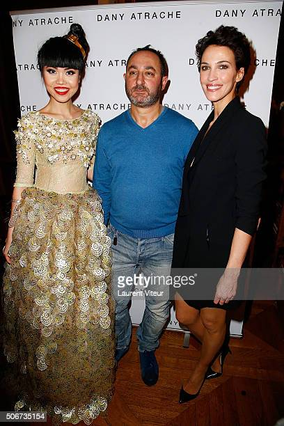 Jessica Minh Anh Designer Dany Atrache and Actress Linda Hardy attend the Dany Atrache Spring Summer 2016 show as part of Paris Fashion Week on...