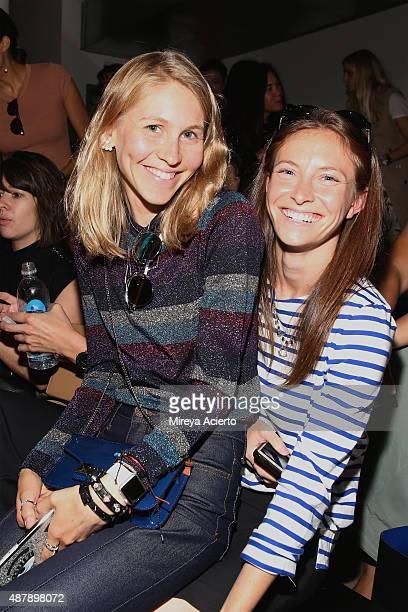 Jessica Minkoff and Mallory Schlau attend the Dion Lee fashion show during Spring 2016 MADE Fashion Week at Milk Studios on September 12 2015 in New...