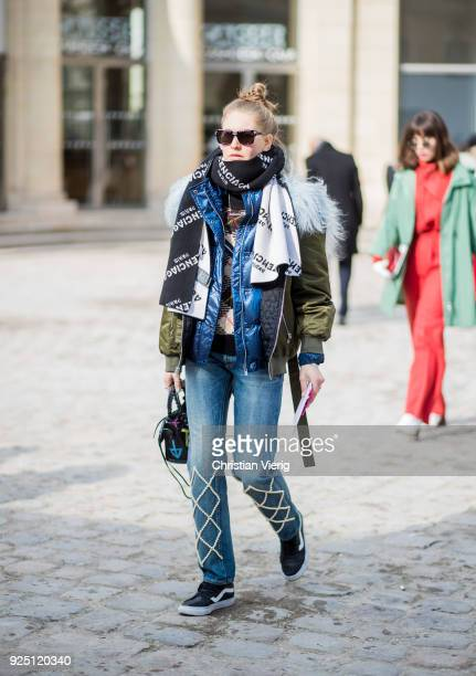 Jessica Minkoff is seen outside Dior on February 27 2018 in Paris France