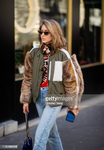 Jessica Minkoff is seen outside Marques Almeida during Paris Fashion Week Womenswear Fall/Winter 2019/2020 on February 26 2019 in Paris France