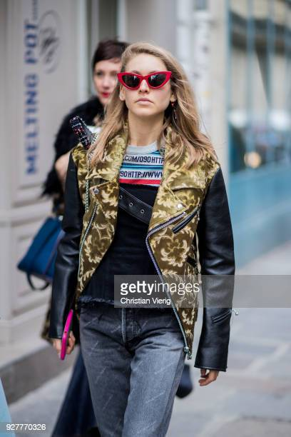 Jessica Minkoff is seen outside Sacai during Paris Fashion Week Womenswear Fall/Winter 2018/2019 on March 5 2018 in Paris France