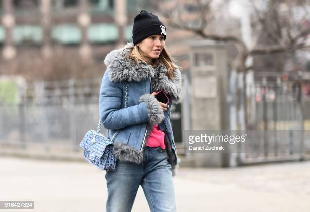 Jessica Minkoff is seen outside the Brock Collection show during New York Fashion Week Women's A/W 2018 on February 9 2018 in New York City