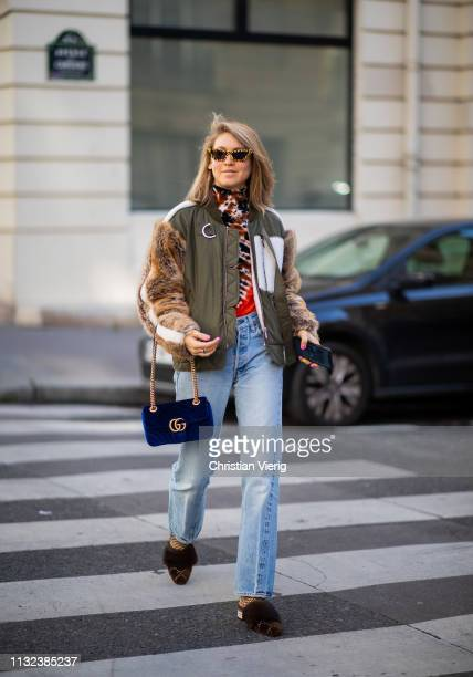 Jessica Minkoff is seen wearing denim jeans outside Marques Almeida during Paris Fashion Week Womenswear Fall/Winter 2019/2020 on February 26 2019 in...
