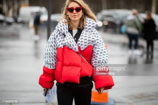 Jessica Minkoff is seen wearing two tone down feather jacket outside Chanel during Paris Fashion Week Womenswear Fall/Winter 2019/2020 on March 05,...