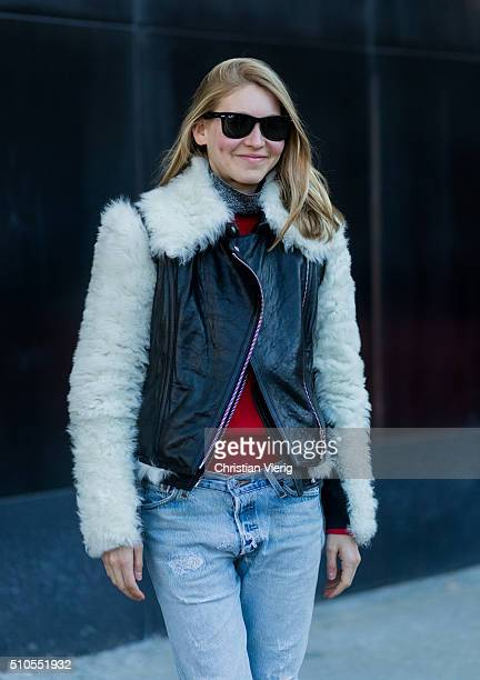 Jessica Minkoff is wearing a shearling leather jacket seen outside J Crew during New York Fashion Week Women's Fall/Winter 2016 on February 14 2016...