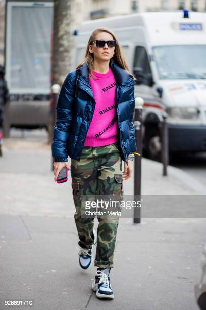 Jessica Minkoff wearing camouflage pants is seen outside Altuzarra during Paris Fashion Week Womenswear Fall/Winter 2018/2019 on March 3 2018 in...