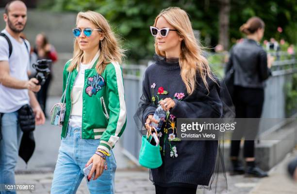 Jessica Minkoff wearing denim jeans green jacket and Charlotte Groeneveld wearing maxi skirt oversized sweater green bag is seen outside Oscar de la...