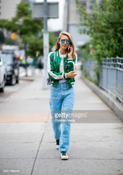 Jessica Minkoff wearing denim jeans green jacket is seen outside Oscar de la Renta during New York Fashion Week Spring/Summer 2019 on September 11...