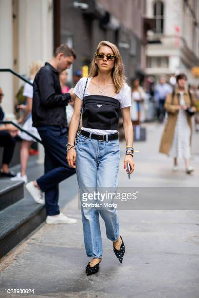 Jessica Minkoff wearing Prada top denim jeans is seen outside Jason Wu during New York Fashion Week Spring/Summer 2019 on September 7 2018 in New...