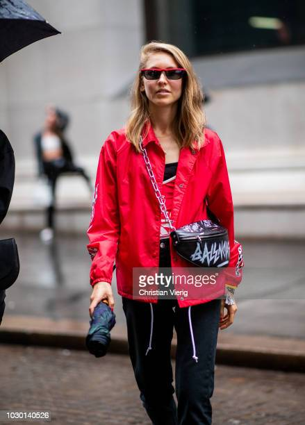 Jessica Minkoff wearing red jacket is seen outside Tibi during New York Fashion Week Spring/Summer 2019 on September 9 2018 in New York City
