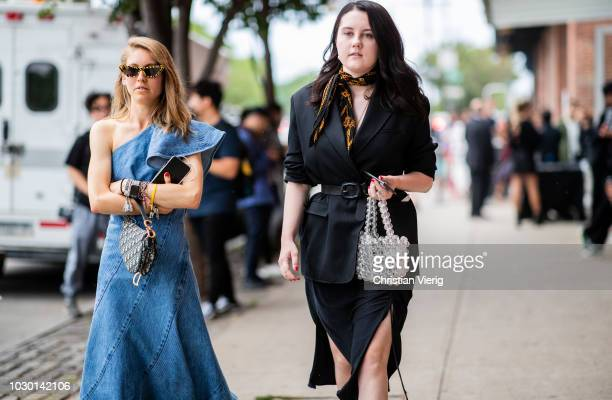 Jessica Minkoff wearing ripped off denim dress is seen outside Adeam during New York Fashion Week Spring/Summer 2019 on September 8 2018 in New York...