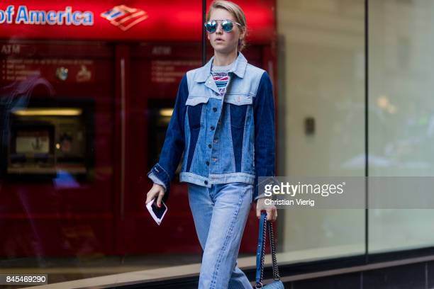 Jessica Minkoff wearing two tone denim jacket seen in the streets of Manhattan outside Victoria Beckham during New York Fashion Week on September 10...