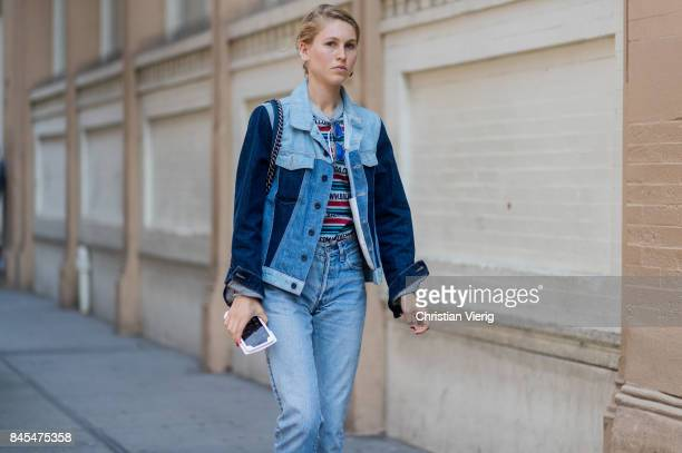 Jessica Minkoff wearing two tone denim jacket seen in the streets of Manhattan outside Mansur Gavriel during New York Fashion Week on September 10...