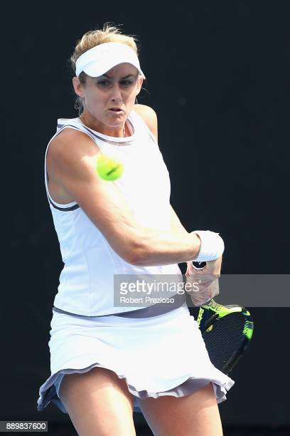 Jessica Moore of Australia competes against Masa Jovanovic and Alexandra Walters of Australia in her first round Australian Open December Showdown...