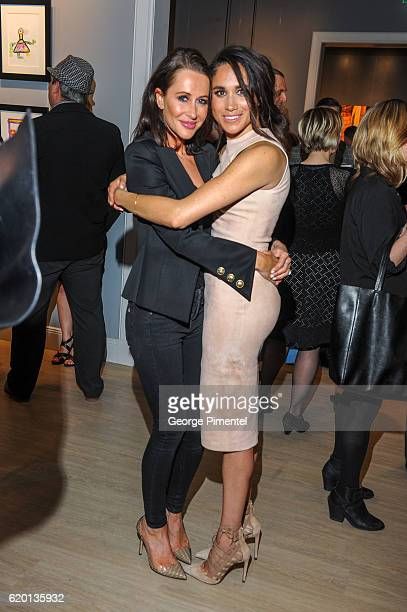 Jessica Mulroney and actress Meghan Markle attend the World Vision event held at Lumas Gallery on March 22 2016 in Toronto Canada