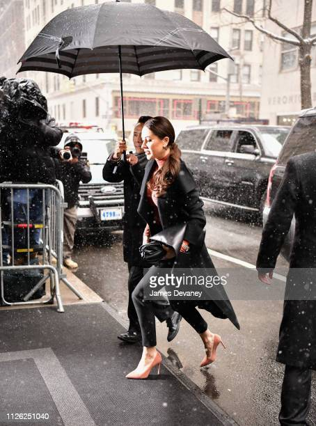 Jessica Mulroney arrives to The Mark Hotel for Meghan Duchess of Sussex's baby shower on February 20 2019 in New York City