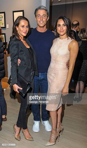 Jessica Mulroney Ben Mulroney and actress Meghan Markle attend the World Vision event held at Lumas Gallery on March 22 2016 in Toronto Canada
