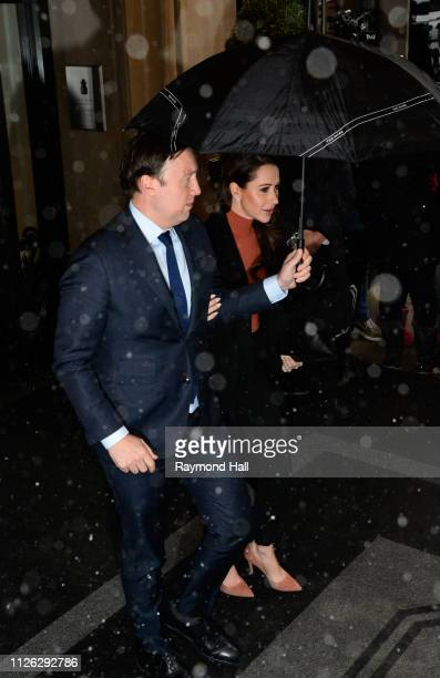 Jessica Mulroney leaving The Mark Hotel for Meghan Duchess of Sussex's baby shower on February 20 2019 in New York City