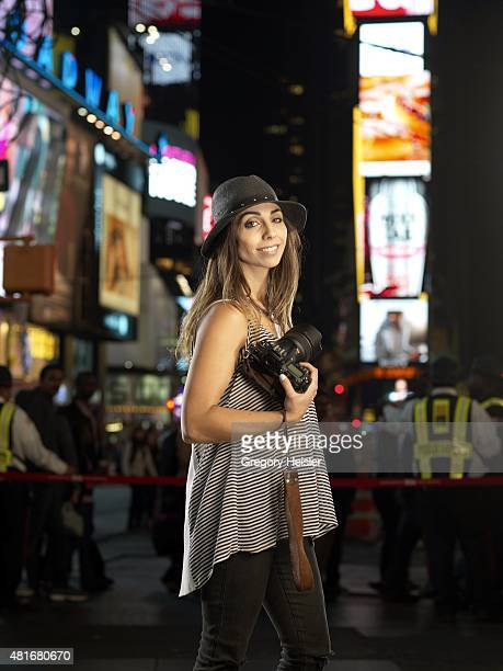 Jessica Namath daughter of former football player Joe Namath is photographed for Sports Illustrated on May 6 2015 in Time Square in New York City...