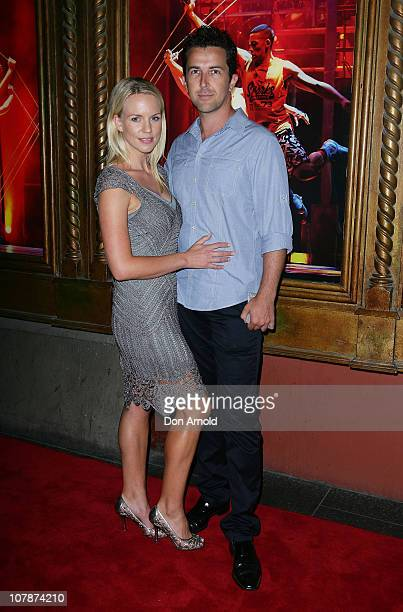Jessica Napier and David Adler arrive at the official opening night of Dein Perry's Tap Dogs at Capitol Theatre on January 5 2011 in Sydney Australia