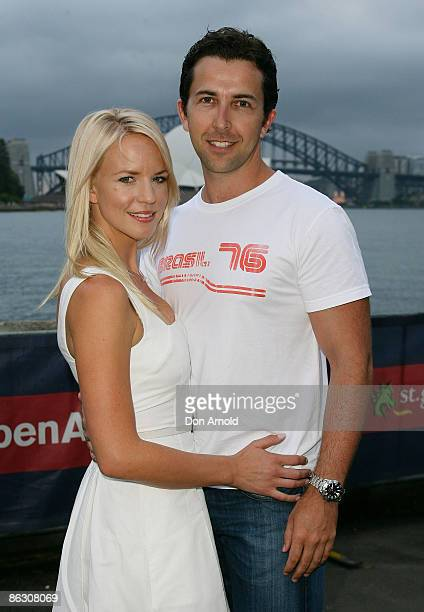 Jessica Napier and David Adler arrive for the opening night of the St George OpenAir Cinema at Mrs Macquarie's Point on January 12 2009 in Sydney...