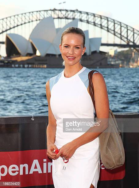 Jessica Napier arrives at the St George OpenAir Cinema launch at Mrs Macquaries Point on January 10 2013 in Sydney Australia