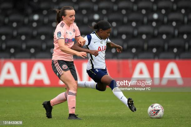 Jessica Naz of Tottenham Hotspur and Kasia Lipka of Sheffield United during the Vitality Women's FA Cup 5th Round match between Tottenham Hotspur...