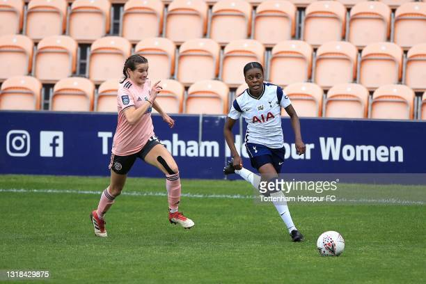 Jessica Naz of Tottenham Hotspur and Rhema Lord-Mears of Sheffield United during the Vitality Women's FA Cup 5th Round match between Tottenham...