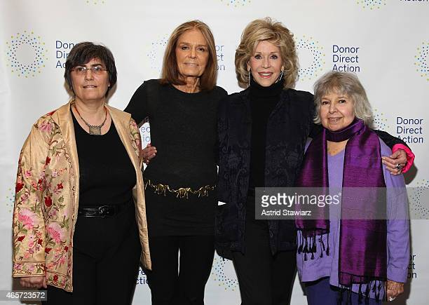 Jessica Neuwirth Gloria Steinem Jane Fonda and Robin Morgan attend the launch party of Donor Direct Action at Ford Foundation on March 9 2015 in New...