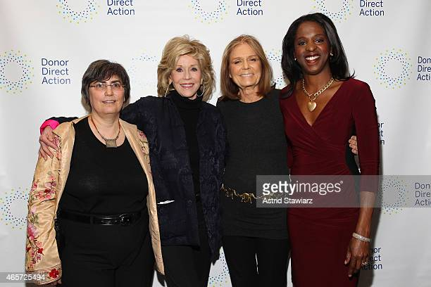 Jessica Neuwirth Jane Fonda Gloria Steinem and Stacey Tisdale attend the launch party of Donor Direct Action at Ford Foundation on March 9 2015 in...