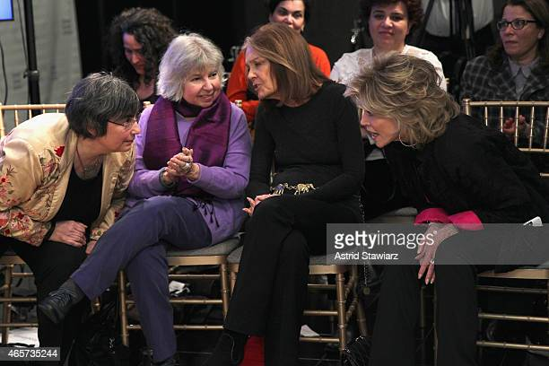 Jessica Neuwirth Robin Morgan Gloria Steinem and Jane Fonda attend the launch party of Donor Direct Action at Ford Foundation on March 9 2015 in New...