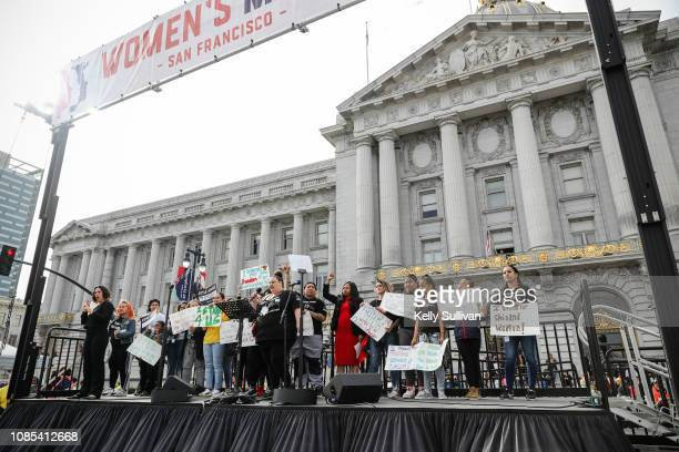 Jessica Nowlan Executive Director of the Young Women's Freedom Center speaks onstage at Civic Center Plaza during the Women's March San Francisco on...