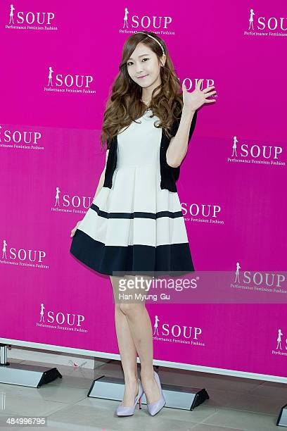 Jessica of South Korean girl group Girls' Generation attends an autograph session for SOUP at the Lotte Department Store on April 4 2014 in Seoul...