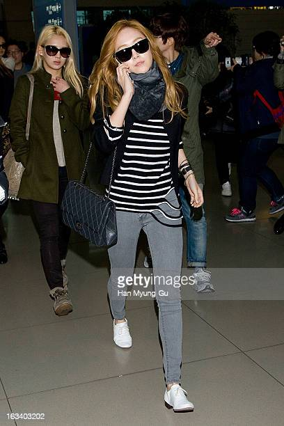 Jessica of South Korean girl group Girls' Generation is seen on departure at Incheon International Airport on March 8 2013 in Incheon South Korea