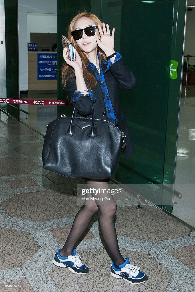 Jessica of South Korean girl group Girls' Generation is seen on departure to Japan at Gimpo International Airport on March 25, 2013 in Seoul, South Korea.