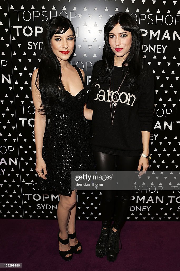 Jessica Origliasso and Lisa Origliasso arrive for the Topshop Topman Sydney launch party on October 3, 2012 in Sydney, Australia.