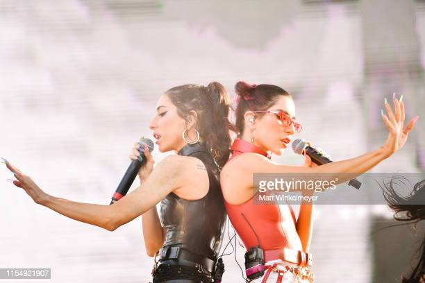 Jessica Origliasso and Lisa Origliasso of the The Veronicas performs during the LA Pride 2019 on June 09 2019 in West Hollywood California