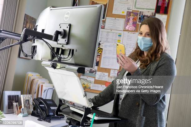 Jessica Osorio at Contra Costa Health Services in a video conference with health officials on Thursday May 14 in Martinez Calif Osorio heads the...