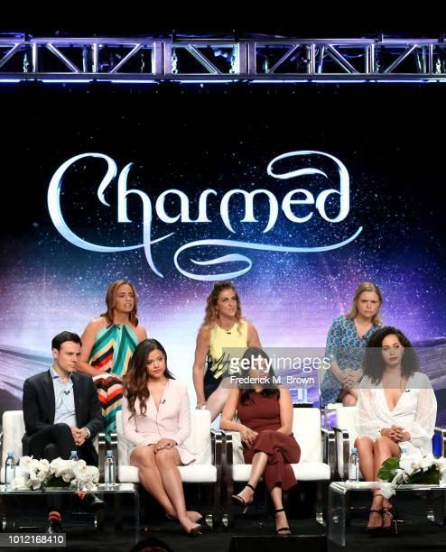 Jessica O'Toole Jennie Snyder Urman Amy Rardin Rupert Evans Sarah Jeffery Melonie Diaz and Madeleine Mantock from Charmed speaks onstage at the CW...