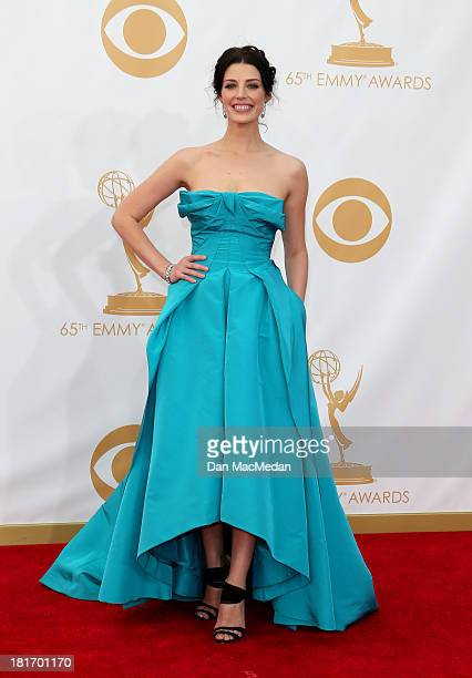 Jessica Pare arrives at the 65th Annual Primetime Emmy Awards at Nokia Theatre LA Live on September 22 2013 in Los Angeles California