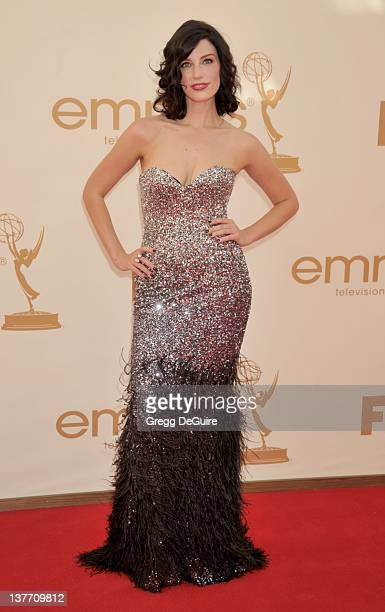 Jessica Pare arrives at the Academy of Television Arts Sciences 63rd Primetime Emmy Awards at Nokia Theatre LA Live on September 18 2011 in Los...