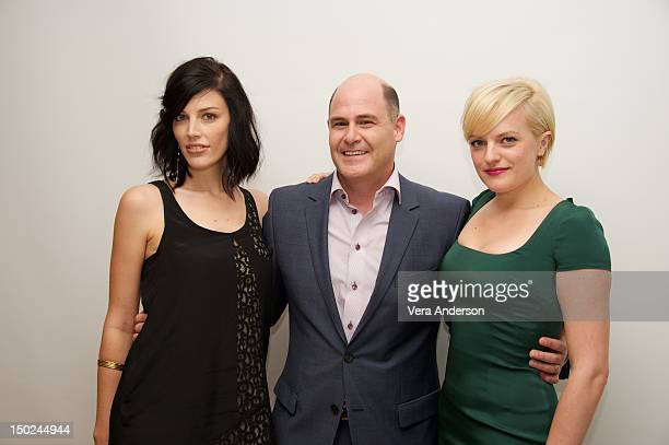 Jessica Pare Matthew Weiner and Elisabeth Moss at the 'Mad Men' Press Conference at the Four Seasons Hotel on August 10 2012 in Beverly Hills...