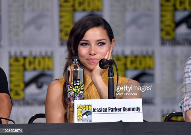 Jessica Parker Kennedy speaks onstage at theThe Flash Special Video Presentation and QA during ComicCon International 2018 at San Diego Convention...