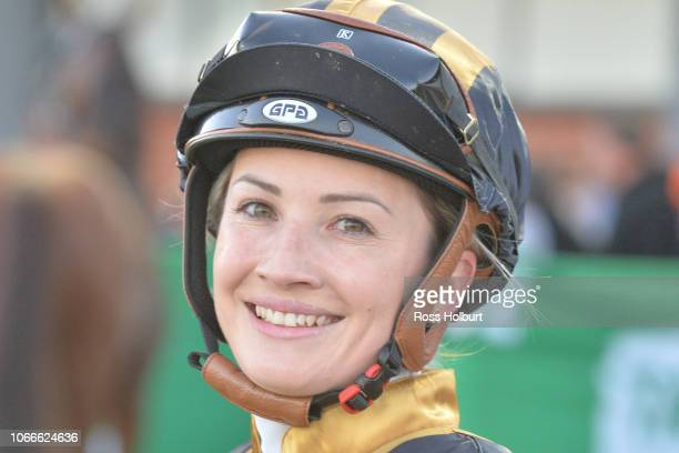 Jessica Payne after winning the Victorian OnCourse Bookmakers Maiden Plate at Cranbourne Racecourse on November 30 2018 in Cranbourne Australia