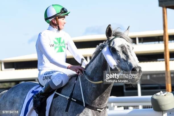 Jessica Payne returns to the mounting yard aboard Reliable Magic after winning the Racingcom SV Maiden Plate at Racingcom Park Synthetic Racecourse...
