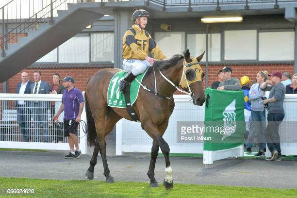 Jessica Payne returns to the mounting yard on Zouy's Comet after winning the Victorian OnCourse Bookmakers Maiden Plate at Cranbourne Racecourse on...