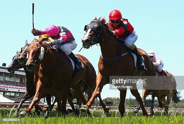 Jessica Payne riding Petite Diablesse crosses the line to win the Building Engineering Handicap during Melbourne Racing at Flemington Racecourse on...