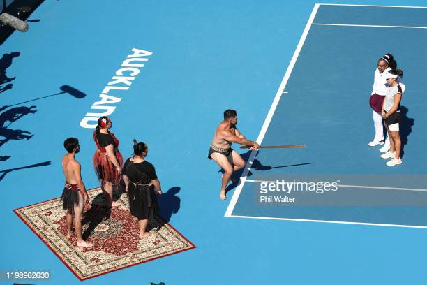 Jessica Pegula and Serena Williams of the USA are welcomes to the court with a traditional powhiri during the singles final on day seven of the 2020...